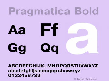 Pragmatica Bold 1.0 Wed Mar 16 19:57:07 1994 Font Sample