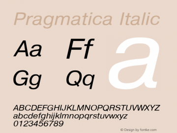 Pragmatica Italic Converted from d:\win\system\P01_HNT.TF1 by ALLTYPE Font Sample