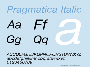 Pragmatica Italic Converted from t:\PRI_____.TF1 by ALLTYPE Font Sample