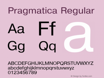 Pragmatica Regular Converted from d:\win\system\P1_HNT.TF1 by ALLTYPE Font Sample
