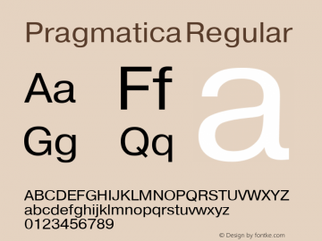 Pragmatica Regular Converted from t:\PRN_____.TF1 by ALLTYPE Font Sample