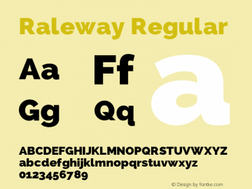 Raleway Regular Version 1.006 Font Sample