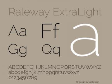 Raleway ExtraLight Version 2.000 Font Sample