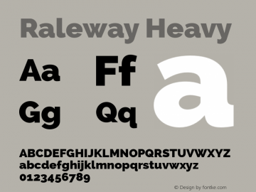 Raleway Heavy Version 2.000 Font Sample