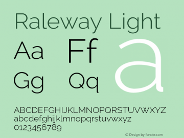 Raleway Light Version 2.000 Font Sample