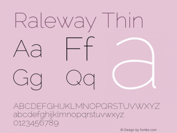 Raleway Thin Version 2.000 Font Sample