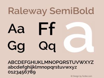 Raleway SemiBold Version 2.000 Font Sample