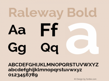 Raleway Bold Version 2.000; ttfautohint (v0.8) -G 200 -r 50 Font Sample