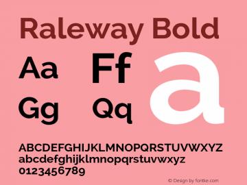 Raleway Bold Version 2.001 Font Sample