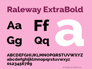 Raleway ExtraBold Version 2.001 Font Sample