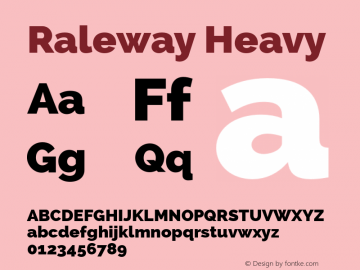 Raleway Heavy Version 2.001 Font Sample