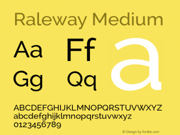 Raleway Medium Version 2.001 Font Sample