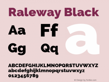 Raleway Black Version 2.002 Font Sample