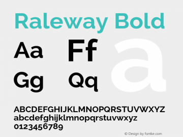 Raleway Bold Version 2.002 Font Sample