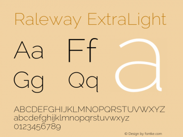 Raleway ExtraLight Version 2.002 Font Sample