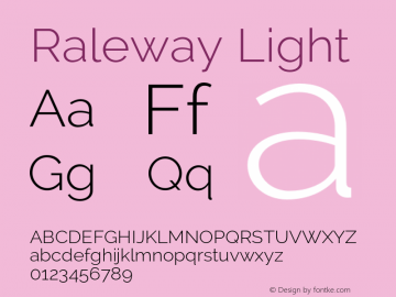 Raleway Light Version 2.002 Font Sample