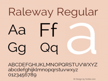 Raleway Regular Version 2.002 Font Sample