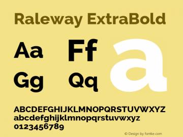 Raleway ExtraBold Version 2.002; ttfautohint (v0.93) -l 8 -r 50 -G 200 -x 14 -w