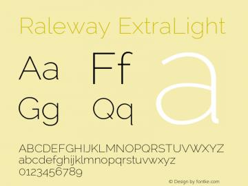 Raleway ExtraLight Version 2.002; ttfautohint (v0.93) -l 8 -r 50 -G 200 -x 14 -w