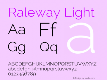 Raleway Light Version 2.002; ttfautohint (v0.93) -l 8 -r 50 -G 200 -x 14 -w