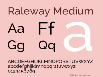 Raleway Medium Version 2.002; ttfautohint (v0.93) -l 8 -r 50 -G 200 -x 14 -w