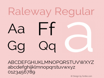 Raleway Regular Version 2.002; ttfautohint (v0.93) -l 8 -r 50 -G 200 -x 14 -w