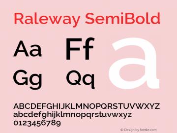 Raleway SemiBold Version 2.002; ttfautohint (v0.93) -l 8 -r 50 -G 200 -x 14 -w