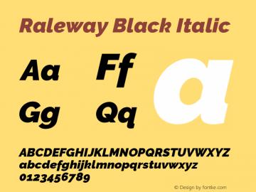 Raleway Black Italic Version 2.500 Font Sample