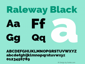 Raleway Black Version 2.500 Font Sample