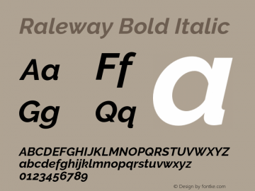 Raleway Bold Italic Version 2.500 Font Sample