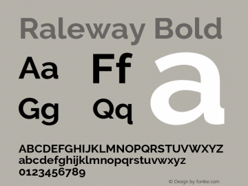 Raleway Bold Version 2.500 Font Sample