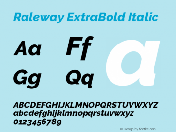 Raleway ExtraBold Italic Version 2.500 Font Sample