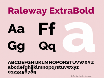 Raleway ExtraBold Version 2.500 Font Sample