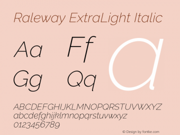 Raleway ExtraLight Italic Version 2.500 Font Sample