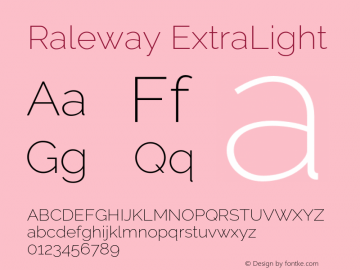 Raleway ExtraLight Version 2.500 Font Sample