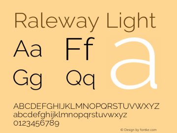 Raleway Light Version 2.500 Font Sample