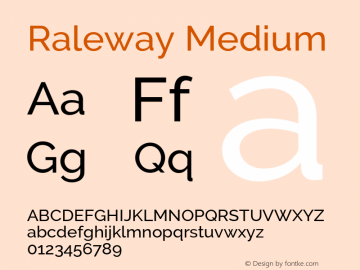 Raleway Medium Version 2.500 Font Sample