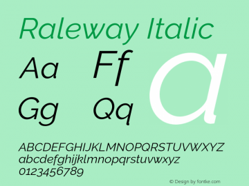 Raleway Italic Version 2.500 Font Sample