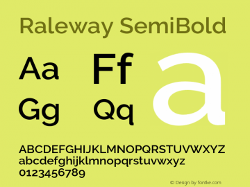 Raleway SemiBold Version 2.500 Font Sample