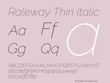 Raleway Thin Italic Version 2.500 Font Sample
