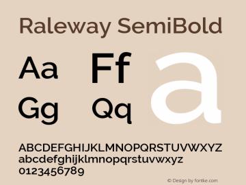Raleway SemiBold Version 2.500; ttfautohint (v0.95) -l 8 -r 50 -G 200 -x 14 -w