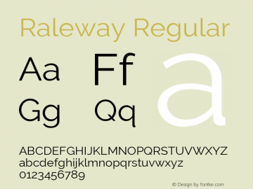 Raleway Regular Version 2.500; ttfautohint (v0.95) -l 8 -r 50 -G 200 -x 14 -w