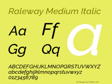 Raleway Medium Italic Version 2.500; ttfautohint (v0.95) -l 8 -r 50 -G 200 -x 14 -w