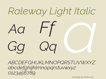 Raleway Light Italic Version 2.500; ttfautohint (v0.95) -l 8 -r 50 -G 200 -x 14 -w