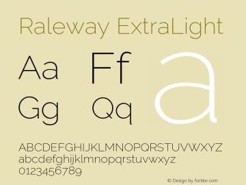 Raleway ExtraLight Version 2.500; ttfautohint (v0.95) -l 8 -r 50 -G 200 -x 14 -w