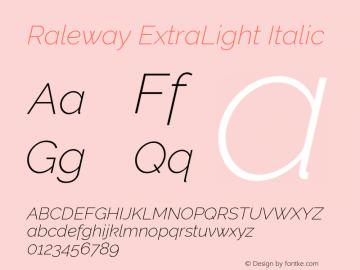 Raleway ExtraLight Italic Version 2.500; ttfautohint (v0.95) -l 8 -r 50 -G 200 -x 14 -w