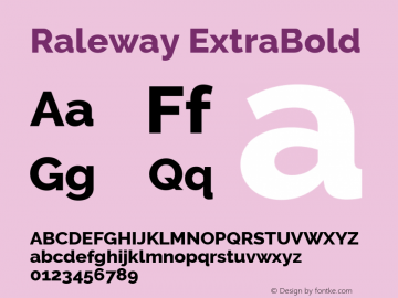 Raleway ExtraBold Version 2.500; ttfautohint (v0.95) -l 8 -r 50 -G 200 -x 14 -w