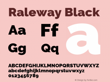 Raleway Black Version 3.000 Font Sample