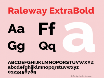 Raleway ExtraBold Version 3.000 Font Sample