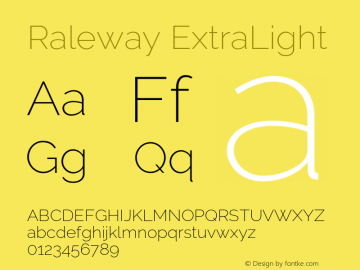 Raleway ExtraLight Version 3.000 Font Sample